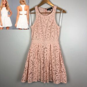 Lulu's Pink Back Cutout Fit & Flare Lace D…